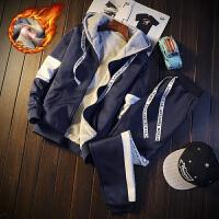 千帅 秋冬季学生连帽卫衣男韩版加绒外套男潮流运动套装两件套一套衣服DJ904