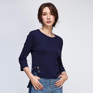前短后长针织衫女套头2017秋韩版七分袖下摆开叉纯色金属环圈上衣