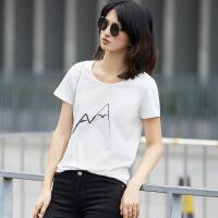 Amii[极简主义]2017夏装新手绘印花短袖百搭休闲大码T恤11742121