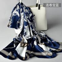 杭州丝绸春秋季真丝丝巾女围巾秋冬季长款披肩