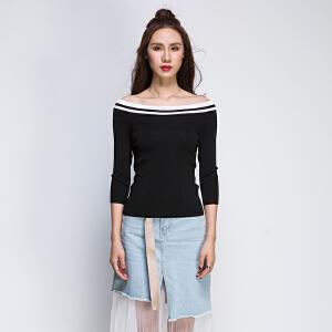 韩版七分袖上衣女2017秋新款百搭修身一字露肩微弹条纹针织衫打底