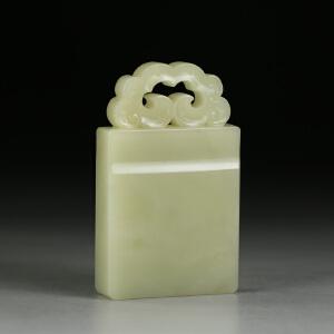 寿山老性芙蓉石 精雕如意钮博古印章 jd1023
