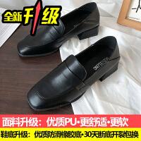 小皮鞋女英伦风ins韩版百搭学生复古方头单鞋春秋季粗跟乐福鞋子