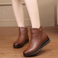 真皮软底妈妈鞋棉鞋 防滑舒适短靴大码鞋加绒保暖中老年人女靴