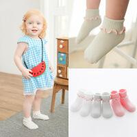 新款 春夏薄款透气全棉婴儿袜 双针翻边宝宝袜子 点胶防滑童袜