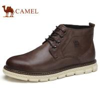 camel 骆驼男鞋 秋季新品休闲皮鞋真皮青年高帮靴子男舒适潮靴