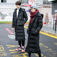 新款冬装情侣棉衣超长款加厚过膝羽绒女超大码学生东北军大衣 黑色 XS