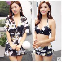 钢托聚拢大小胸比基尼罩衫三件套VICKI泳衣女韩国带温泉宽松显瘦 可礼品卡支付