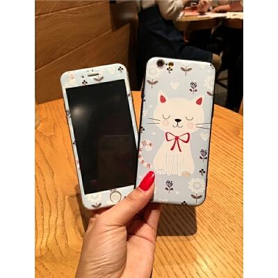 iphone6s钢化膜全屏苹果8彩膜卡通7plus浮雕手机壳猫咪防爆前贴膜 iPhone8 大白猫加前膜
