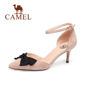 camel/骆驼女鞋 春夏新款 简约细跟磨砂羊皮女单鞋 蝴蝶结高跟鞋