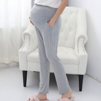 孕妇睡裤春夏季薄款家居裤宽松托腹可调节月子长裤