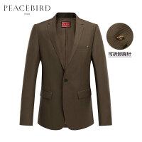 太平鸟男装 西装男外套金属胸针韩版休闲秋季新款纯色时尚西服男