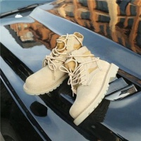 20190920145909681战狼2同款马丁靴女2019新款英伦风高帮厚底系带短靴子沙漠靴军靴 卡其色