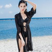 性感泳衣女分体比基尼三件套长裙开衫温泉韩国小香风小胸聚拢泳装
