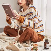 【2件2.5折】唐狮新款秋冬季毛衣女韩版宽松毛线衣女条纹套头学生外穿甜美