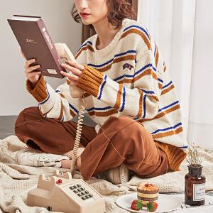 【2件3折价83.4元】唐狮新款秋冬季毛衣女韩版宽松毛线衣女条纹套头学生外穿甜美