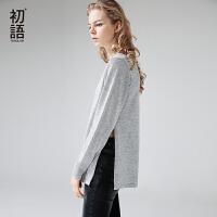 初语 2017秋季新款  圆领高开衩长袖套头毛针织衫女毛衣上衣