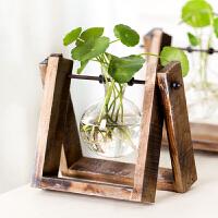 御目 摆件 客厅书房卧室工艺品水培绿萝植物实木材质透明玻璃容器简约现代小清新花瓶摆饰