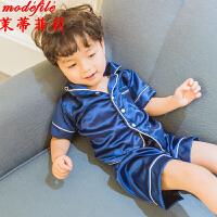 茉蒂菲莉 儿童睡衣 2017夏季新款儿童家居服男童短袖上衣套装满额减女童睡服两件套童装