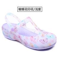拖鞋女夏季新款印花洞洞鞋凉拖鞋塑料果冻鞋厚底学生沙滩鞋