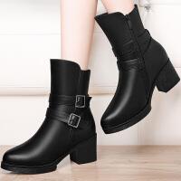 短靴马丁靴女2019秋冬季新款粗跟女士皮鞋中跟高跟女靴英伦风秋季学生女单鞋