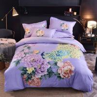 四件套轻奢大版花斜纹磨毛床上用品印花纯棉单双人被套大床床单 被套200*230床单230*245