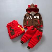 男女童宝宝棉衣三件套装童装婴幼儿冬装卫衣套装