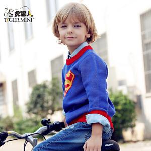 男童纯棉毛衣 儿童圆领套头针织衫中大童卡通春装装小虎宝儿童装