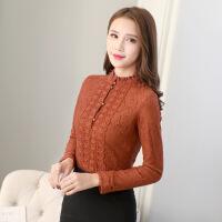卡茗语秋冬长袖蕾丝打底衫韩版女装大码小衫修身上衣加绒加厚冬