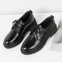 小皮鞋女2019秋季新款韩版百搭英伦风复古厚底布洛克鞋系带单鞋子 黑色