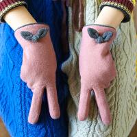 手套女冬季保暖蝴蝶结加绒骑行手套触摸屏手套