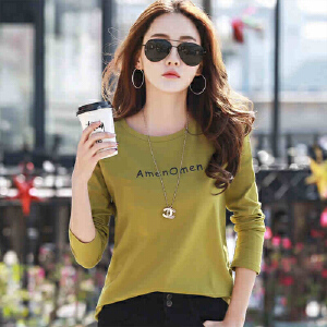 春装新款女装上衣纯棉长袖t恤女韩版宽松打底衫体恤女长袖WK5193