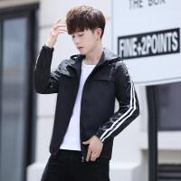 男装连帽夹克春秋季韩版修身外套时尚潮流防晒衣青少年学生上衣服