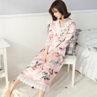 2018新款宫廷睡裙女春夏韩版蕾丝家居服公主风 性感睡衣女长袖