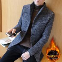 秋冬季加绒风衣男士修身中长款呢子外套韩版帅气大衣2018新款潮流 N1109加绒款灰色