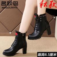 马丁靴女士韩版粗跟高跟鞋女短靴春夏季新款中跟单靴子女鞋