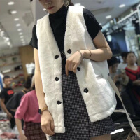2018秋冬兔毛绒马甲女韩版新款修身百搭V领皮毛一体羊羔毛外套bf