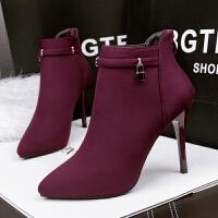 舒适好看!时尚新品绒皮马丁靴高跟靴欧美尖头细跟短靴女鞋简约踝靴子青春靓丽