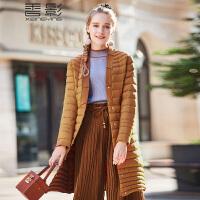 香影轻薄羽绒服女 2017冬装新款时尚修身显瘦v领中长款外套休闲+