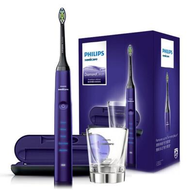飞利浦(PHILIPS)电动牙刷 成人声波震动钻石系列(自带刷头*2+充电旅行盒+充电玻璃杯) 紫钻HX9372/04
