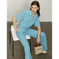 Amii极简通勤时尚休闲两件装女2021夏新款短袖衬衫超长阔腿裤套装