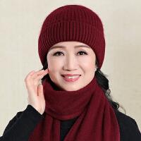 老人帽子女冬季中老年人妈妈奶奶帽冬天保暖老太太针织毛线帽围巾