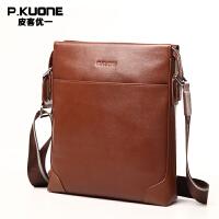 P.kuone/皮客优一男士休闲单肩包男包头层牛皮斜挎包商务竖款小包P610606