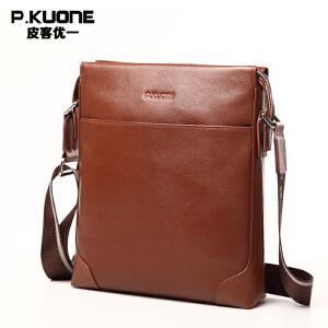 【可礼品卡支付】P.kuone/皮客优一男士休闲单肩包男包头层牛皮斜挎包商务竖款小包P610606