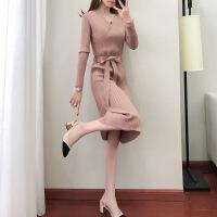 中长款V领女神范针织连衣裙2018秋季新款收腰显瘦时尚套头毛衣裙