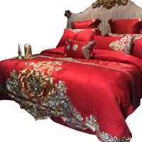 大红色结婚床上用品新婚四件套十件套刺绣婚庆床盖式被套