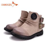【1件2折后:49元】红蜻蜓童鞋冬款英伦风皮面中筒男女童马丁靴儿童皮靴