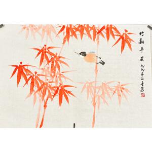 河南美术家协会会员许鲁四尺三开花鸟画 gh03479