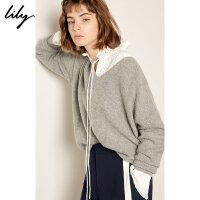 【每满200减100】【景甜同款羊绒衫Lily2018冬新款女装纯色条纹V领宽松毛针织衫