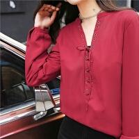 七格格红色雪纺衬衫女加绒长袖新款洋气时尚百搭打底上衣
